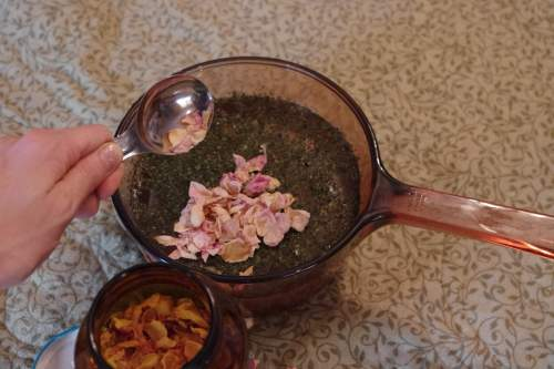 herbal hair rinse adding roses