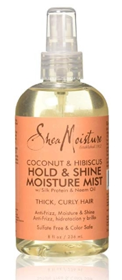 best natural and organic hairsprays - Shea Moisture Coconut Hibiscus Hold & Shine Daily Moisture Mist